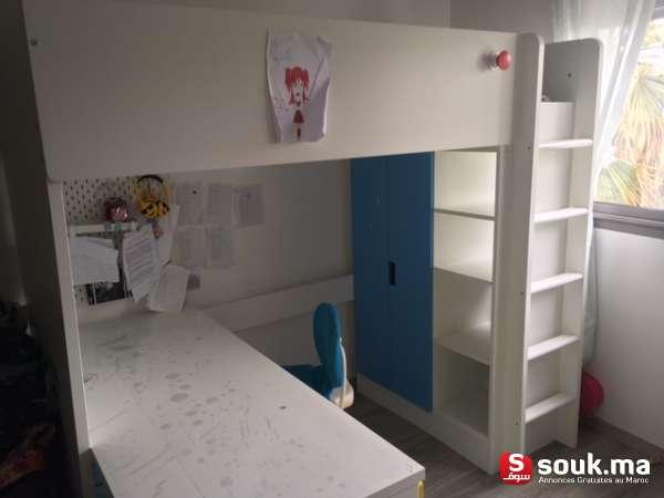 Chambre à Coucher Enfant Complète IKEA: Lit Superposé Avec Escalier,  Matelas, Armoire, Grand Bureau. Le Tout Est Nouveau, En Parfait état