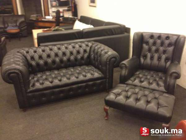 fauteuil chesterfield en cuir noir casablanca souk ma. Black Bedroom Furniture Sets. Home Design Ideas