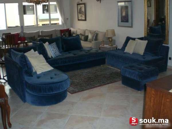 Salon bleu roi 4 l ments casablanca souk ma for 4 elements salon